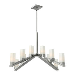 Frederick Ramond - Fredrick Ramond Omni 12-Light Chandelier - The modern, minimal style of Omni features a unique four-sided arm in a Polished Nickel finish. The tall, square etched opal glass clips into a cast fitter, creating a striking silhouette.