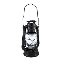 Zeckos - Battery Operated 12 LED Black Camping Lantern 9.5 In. - This camping lantern features a convenient combination of a classic design and modern technology. Twelve ultra white LED lights shine brighter than the light from traditional kerosene lanterns. The lantern is made of metal with a glass globe and measures 9 1/2 inches tall, 6 1/4 inches wide, 4 1/2 inches deep. It runs on 2 'D' batteries (not included), and is great for camping and fishing, or is a great accent light on your porch or patio. This lantern is a wonderful alternative to fuel lanterns, there is no smoke, no fire, no cleaning, and no worries about kids using it.