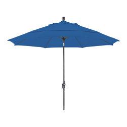 California Umbrella - 11-Feet Sunbrella Fabric Fiberglass Rib Crank Lift Collar Tilt Aluminum Umbrella - 11' Fiberglass Market Umbrella Collar Tilt DV Bronze/Sunbrella/Pacific Blue