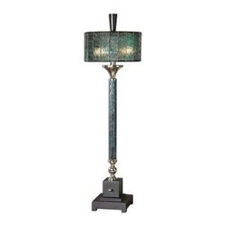 Uttermost - Uttermost 29658-1 Vedano Water Glass Buffet Lamp - Dark blue green water glass column with polished chrome details and a matte black foot. The round drum shade is blue green Tiffany style water glass.