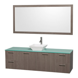 Wyndham Collection - Vanity Set with White Porcelain Sink - Includes drain assemblies, mirror and P-traps for easy assembly. Faucets not included. Four functional drawers. Two functional doors. Single-hole faucet mount. Fully-extending soft-close drawer slides. Concealed soft-close door hinges. Deep doweled drawers. Unique and striking contemporary design. Highly water-resistant low V.O.C. sealed finish. Eight-stage preparation. Lifetime warping prevention. Green glass top. Metal exterior hardware with brushed chrome finish. Made from veneers and high quality grade E1 MDF. Gray oak finish. Vanity: 72 in. W x 22.25 in. D x 21.25 in. H. Sink: 5.5 in. H. Mirror: 70 in. W x 0.75 in. D x 33 in. H. Care Instruction. Vanity Assembly Instruction. Mirror Assembly InstructionModern clean lines and a truly elegant design aesthetic meet affordability in the (No Suggestions) collection amare vanity. Available with green glass or pure white man-made stone counters, and featuring soft close door hinges and drawer glides, you'll never hear a noisy door again! Meticulously finished with brushed Chrome hardware, the attention to detail on this elegant contemporary vanity is unrivalled.