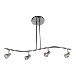 Joshua Marshal - Brushed Steel Four Light Down Lighting Multi Light Pendant - Brushed Steel Four Light Down Lighting Multi Light Pendant