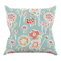 """Kess InHouse - Gill Eggleston """"Folky Floral Light Jade"""" Blue Teal Throw Pillow (18"""" x 18"""") - Rest among the art you love. Transform your hang out room into a hip gallery, that's also comfortable. With this pillow you can create an environment that reflects your unique style. It's amazing what a throw pillow can do to complete a room. (Kess InHouse is not responsible for pillow fighting that may occur as the result of creative stimulation)."""