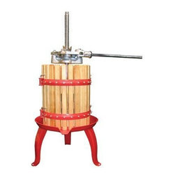 Weston - Fruit & Wine Press - Weston Fruit & Wine Press. Make healthy. fresh fruit juices at home! Great for grapes, apples and more.  Simple and fun tool for the whole family.  Heavy-duty, coated cast iron, double ratcheting head to press with greater pressure and ease.  Easy pour bottom spout.  Enameled steel base & hardwood construction.  16 qt. cage (15 liter) capacity.
