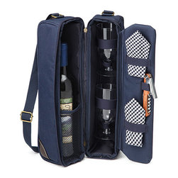 Contemporary Canvas Wine Tote - Perfect for picnics or a romantic outing, this compact, over-the-shoulder, insulated wine tote includes two glasses, blue and white checkered napkins, a waiter's tool with corkscrew, and a separate insulated compartment to keep your wine at its correct temperature.
