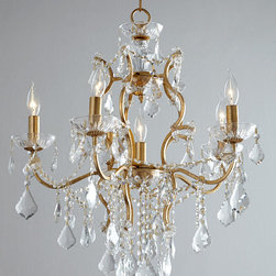 "Horchow - Astrid Chandelier - Astrid ChandelierDetailsMade of wrought iron and hand-cut crystal.Uses six 60-watt candelabrum bulbs.23""Dia. x 25""T with 72""L chain.Ceiling canopy included.Direct wire; professional installation required.Imported.Boxed weight approximately 21 lbs. Please note that this item may require additional delivery and processing charges."