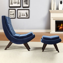 Inspire Q - INSPIRE Q Albury Blue Velvet Curved Chair and Ottoman Set - After a long day,kick your feet up and enjoy a good book by the fireplace with this velvet chair and ottoman set from Albury. The unique curved design and generous plush cushioning provides optimal comfort the entire family will enjoy.