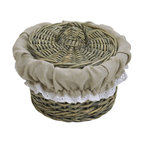 Willow Tote Basket with Cover Washed Grey/ Linen Liner - This tote basket is made of willow with a lovely cover to hide your belongings. It features an easy-to-wash beige linen liner and offers a stylish storage solution for towels, toys, blankets or anything else you need to organize. Wipe with a damp cloth. Diameter of 6.69-Inch and a height of 4.72-Inch. Color washed grey. This pretty willow tote basket will store a variety of items in a natural style as well as being functional and will be a welcomed addition anywhere needed! Complete your decoration with other products of the same collection. Imported.
