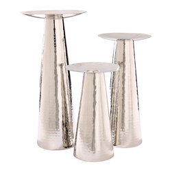 Foreign Affairs Home Decor - Nestor Hammered-Nickel Pillar Candleholders, Set of 3 - Shimmering hammered nickel makes these elegant candle holders stand out on your dinner table.