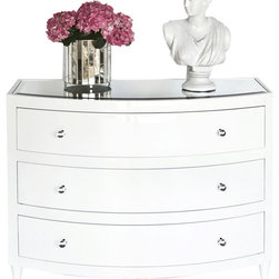 Worlds away - Worlds Away Natalie WH White bowfront 3 drawer dresser - With its curved bow front, this charming three-drawer dresser will surely find a home in your teenaged daughter's room or guest room. Pure white with a silvery top and drawer pulls, it's the ultimate in glamour.