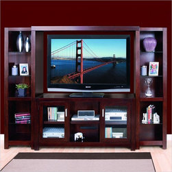 """Kathy Ireland Home by Martin Furniture - Carlton 98"""" Entertainment Wall Unit in - Set includes Pier and Console"""