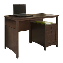 Bush - Bush Buena Vista Desk with File Drawer in Madison Cherry Finish - Bush - Computer Desks - MY1382303 - Perfect for your work/play space the Buena Vista Desk offers ample workspace to get work done while matching your Buena Vista room suite. The desk features an open shelf under the desktop that's perfect for storing your laptop plus a file drawer for letter-sized files. One box drawer is designed for office and desk supplies while the large open work surface makes it easy to stay organized.