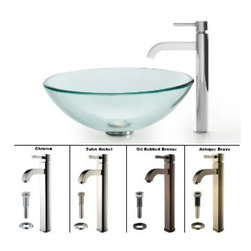 Kraus - Kraus Clear Glass Vessel Sink and Ramus Faucet Satin Nickel - *Add a touch of elegance to your bathroom with a glass sink combo from Kraus