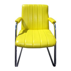 Chromecraft Chairs in Yellow Vinyl - A Pair - Two of the happiest chairs you̢���ll ever encounter. Shiny chrome bases with brand new lemon yellow upholstery. Fill your home or office with a little sunshine.Chrome has some minor wear and two chairs are missing screw covers on back. Please see photos. 4 available, sold in pairs. Please contact Support if you're interested in purchasing all four. Arm Height measures 25:.