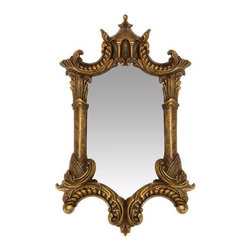 Sterling Industries 26-5353M Gold Plume Mirror - This ornate pagoda-like mirror has quirky lines that would serve as a wonderful focal point in a room.