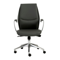 Crosby Low Back Office Chair-Gry/Alum - Nothing says inviting like this office chair. Its swooping seam across the backrest evokes a friendly smile, enticing you over to experience its cushioned comfort and customizable support.