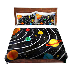 DiaNoche Designs - Duvet Cover Twill - Solar System - Lightweight and soft brushed twill Duvet Cover sizes Twin, Queen, King.  SHAMS NOT INCLUDED.  This duvet is designed to wash upon arrival for maximum softness.   Each duvet starts by looming the fabric and cutting to the size ordered.  The Image is printed and your Duvet Cover is meticulously sewn together with ties in each corner and a concealed zip closure.  All in the USA!!  Poly top with a Cotton Poly underside.  Dye Sublimation printing permanently adheres the ink to the material for long life and durability. Printed top, cream colored bottom, Machine Washable, Product may vary slightly from image.