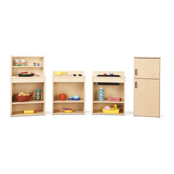 Young Time - Young Time Play Kitchen Set - Play food and toys not included. Includes fridge, sink, stove and pantry. Imaginative play for children. Pantry with one top shelf and two bottom shelves. Sink with two bottom shelves. Stove with two bottom shelves. Fridge features two doors. Durable laminate surface. Rounded corners. Thermo-fused edgebanding. Safety tested product. Greenguard Children and Schools SM indoor air quality certified. CPSIA and CARB compliant. Warranty: 1 year. Made in USA. Assembly required. Fridge: 12 in. W x 14 in. D x 32.5 in. H (34 lbs.). Sink: 18.5 in. W x 12.5 in. D x 23.5 in. H (23 lbs.). Stove: 18.5 in. W x 12.5 in. D x 23.5 in. H (23 lbs.). Pantry: 18.5 in. W x 12.5 in. D x 32.5 in. H (28 lbs.). Overall Weight: 108 lbs.Young Time is for budget-minded buyers seeking to get the most for their classroom furniture dollar. Young Time offers affordable, American-made early learning furniture designed with a focus on the functionality you need most!