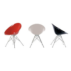 Kartell - Kartell Eros Armchair - Eiffel Tower Base - EroS is an armchair with an organic egg shape, a refined combination of finishes, and an interesting use of color. The quality and richness of its components make it particularly elegant and sophisticated. EroS is ideal for the home, in dining or living rooms, as well as office settings. The chair base is alight four-legged structure in chromium-plated steel. The seat is available in transparent or opaque colors. Manufactured by Kartell.