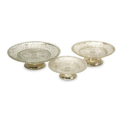 "IMAX - Irene Pedestal Cake Stands - Set of 3 - Perfect for serving petite hors d'oeuvres or sweets, the Irene pedestal cake stands feature exquisite detail with a slight royal British style. Afternoon tea anyone' Dimensions: (3-3.75-3.75""h x 8.5-10-75-12""d)"