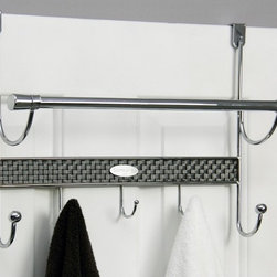 None - Over-the-door 5-hook Chrome Towel Rod - A deluxe basket-weave design decorates this five-hook door towel bar. A metal construction with a polished chrome finish completes the design of this functional towel rod.