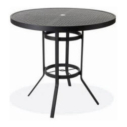Winston 42 in. Round Stamped Aluminum Bar Height Table - The sleek and sophisticated Winston 42 in. Round Stamped Aluminum Bar Height Table stuns with a geometric pattern of circles stamped across its surface. This simple, modern design is absolutely solid. The tabletop is created from 3/16-inch aluminum for great rigidity and the amount of space it offers you and your guests is more than enough for cocktails, appetizers, and maybe even to squeeze in a few more elbows! The sturdy bar height frame is constructed of aluminum as well and comes painted in the finish of your choosing. Select from the following: antique bisque, bronze, driftwood, espresso, java, metallic graphite, Olympic gold, patina, smooth white, textured pewter, and textured silver. Measures 42 diam. x 39H inches and seats up to 4 adults comfortably.About Winston Furniture CompanyStarted in 1975, Winston Furniture Company manufactured simple aluminum furniture with virgin vinyl straps. As the popularity of casual furniture increased and consumers craved comfort, Winston answered the call by being the first company to introduce cushioned, mildew-resistant fabrics for outdoor use. In 1982, Winston was once again at the forefront by adding stylish, easy-to-maintain sling furniture to its product line.Today, the Winston Furniture line is comprised of cushion and sling furniture with a host of styles. A variety of powder-coated paint finishes and sling colors, along with over a hundred fabric selections allow you to create just the look you need. All Winston Furniture product materials are proudly sourced in the U.S.A. Welding is completed in a state-of-the-art manufacturing facility in Juarez, Mexico. Products are shipped to El Paso, Texas for finishing and final inspection before being shipped to your door.Winston Furniture Company, Inc. has earned several design and service awards from retailers over the past 25 years. The most notable of these honors is the National Association of Casual Furniture Retailers's; (NACFR) Casual Furniture Manufacturer Leadership Award. Since the awards' inception in 1990, Winston is a four-time recipient as well as a finalist every year.