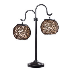 Kenroy - Kenroy KR-32245BRZ Castillo Outdoor Table Lamp - Twin rounded lanterns shine suspended from graceful curved arms. Castillo's woven shade design is artful and tactile with a Mediterranean flavor.