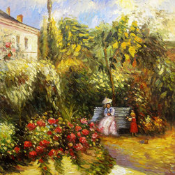 """overstockArt.com - Camille Pissarro - The Garden at Pontoise - 20"""" X 24"""" Oil Painting On Canvas The Garden at Pontoise is a beautiful and colorful impressionist painting that will bring colors and joy to every room or workspace. Jacob-Abraham-Camille Pissarro (1830-1903) was a French Impressionist painter who's focus on landscapes, as well as, rural and urban French life have always been a favorite of the viewing audience. His later work displays an empathy for peasants and laborers sometimes revealing his radical political leanings. Why not grace your home with this reproduced masterpiece? It is sure to bring many admirers!"""