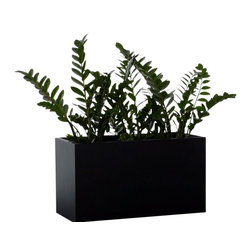 Green Seasons - Gallery Rectangular Metal Planters 36 in. matte black - Description of Collection: Gallery Metal Planters are unique in size, shape, durability and functionality. Excellent craftsmanship... made in the U.S.A.  Gallery metal planters are intended to surround and define indoor and outdoor activity areas. They're easy to place in a variety of configurations (long rows, L-shapes, etc.. ) to accommodate outdoor dining areas, walkways, street-sidewalk buffer zones, parking lots and to improve aesthetics. They can be filled with trees, shrubs, flowers and any soil medium.