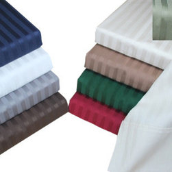 Bed Linens - Egyptian Cotton 400 Thread Count Stripe Sheet Sets Cal-King Mocha - 400 Thread Count Stripe Sheet Sets