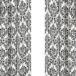 Sweet Jojo Designs - Isabella Black and White Damask Window Panel - Set of 2 by Sweet Jojo Designs - The Isabella Black and White Damask Window Panel - Set of 2 by Sweet Jojo Designs, along with the  bedding accessories.