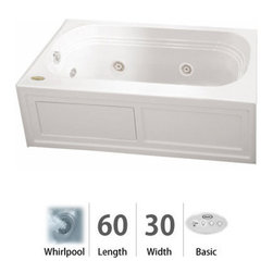 """Jacuzzi - Jacuzzi LXS6030 WLR 2HX W White Luxura 60"""" x 30"""" Luxura  Three Wall - Luxura  Collection:When you see a Jacuzzi  tub with the name Luxura , you know this is going to be one you just HAVE to try. With jets along both sides and at one end for that soothing foot or shoulder massage, this is a welcome addition to a contemporary decor or a more traditional setting. The Jacuzzi  Luxura  tub comes in a variety of sizes, each with tile-in options. Choose from four different colors (white, black, almond, and oyster) and three hydrotherapy experiences (Whirlpool, Pure Air , and Soaking Bath), depending on the measurements. This is an ideal fixture for remodels and replacements of older tubs measuring 5 to 5 1/2; feet in length. Should your job require tub skirting, Luxura  model tubs have this available.Tile Flange - Some Luxura  Models may come with a tile flange for 3-wall alcove installations, please check tub specifications prior to orderTubs that have an optional skirt do not include a tile flangeSkirting Available - Available with a skirt (aka """"apron""""). Use product codes beginning with """"LXS.""""Measurements:60""""L x 30""""W x 20.25""""H + Skirt and Tile FlangeComfort Whirlpool:At its most basic form, the three things needed to create a whirlpool experience are water (moved through a pump), air (mixed with the water), and jets (Therapro and AccuPro). Jacuzzi s  Comfort Whirlpool models do just this. A single speed motor and patented fixed airflow system push mixed water through 5-8 jets. Luxury models take things even further by swapping out the single-speed motor for a multi-speed motor and upgrading the airflow systems to electronically operated and patented Silent Air  Induction technologies. Luxury Models tend to have double (in some cases, triple) the jets of Comfort models, enhanced user controls, and a number of optional high-t"""