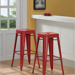 None - Tabouret 30-inch Red Metal Bar Stools (Set of 2) - A backless design is featured on this set of two bar stools. This stool set comes in a red color with a powder-coat finish.