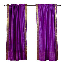 Indian Selections - Pair of Purple Rod Pocket Sheer Sari Curtains, 43 X 84 In. - Size of each curtain: 43 Inches wide X 84 Inches drop