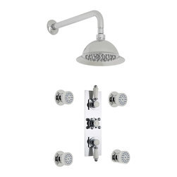"""Hudson Reed - Traditional Thermostatic Shower System, 8 Rose & Arm & Round Body Jets - The Traditional thermostatic shower system from Hudson Reed comes complete with four massaging body jets, 8 shower rose with arm and the triple thermostatic shower valve. Made in Great Britain from solid brass, the thermostatic shower valve features a built-in anti-scald device for a safer showering experience, as well as ceramic disc technology for smooth and accurate control. Hudson Reed Thermostatic Triple Shower Valve Details   Solid brass rough-in valve Made in Great Britain Serviceable check valves and strainers Ceramic Disc Technology Pre-set maximum temperature 104ºf Automatic anti scald device Recommended pressure for best performance 2 to 75 psi  ½ NPT Inlets and Outlets Compatible with standard US plumbing connections Compatible with combi boilers, gravity fed systems, unvented mains pressure systems and for shower pumps Warranty: 10 years  Hudson Reed Round Body Jet Details   Chrome finish Sliding collar IAPMO approved 1/2 NPT inlet Easy clean nozzles 9.5L/min 2.5gpm regulator installed Made from solid brass Single spray pattern  Hudson Reed 8 Shower Rose Details   IAPMO Approved 1/2 NPT inlets Chrome finish Easy clean nozzles 9.5L/min 2.5gpm regulator installed Supplied with 13 wall mounted arm  Shower Consists of:     UFG-HR721Triple Valve Body Only Concealed  UFG-HRPS713Slim Triple Trim Plate (Square Flange)   UFG-HRH709Traditional Crosshead Temperature Handle  UFG-HRH711Traditional Flow Control Lever  UFG-HRBT701Round Sheer Body Jet  UFG-HRSH706Shower Rose 8""""  UFG-HRAM701Wall Mounted 13"""""""