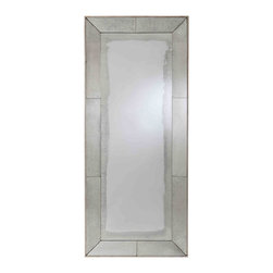 """Kathy Kuo Home - Vera Antiqued Mirror Contemporary Floor Mirror - Let there be light!  This floor mirror delivers generous light on its own, but when framed in antiqued mirror the effect is multiplied ten fold.  Dark corners beware, this beauty creates airy reflection with such ease, you might mistake it for a doorway into the """"next room""""!"""