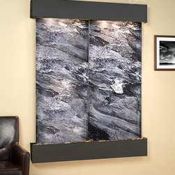 The Majestic River Wall Water Feature Wall Fountains - The Majestic River Indoor Wall Fountain is perfect for any room, bringing tranquility to any room while your guests admire. The Majestic Rivers Wall Fountain is one of our top selling large water features. Available in a two or three paneled slate face, this modern water wall will make your home, office, or work place transform into a peaceful oasis. Hand crafted by the finest artisans this large Majestic River garden wall mounted fountain includes step- by- step instructions to make it easy to install.