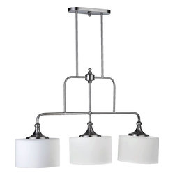 Joshua Marshal - Three Light Satin Nickel Satin Opal Glass Drum Shade Island Light - Three Light Satin Nickel Satin Opal Glass Drum Shade Island Light