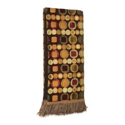 "Canaan - Lotus Tripoli Chocolate Circle Square Print Throw Blanket - Lotus tripoli chocolate circle square print throw blanket with soft liner and bullion fringe trim. Measures 46"" x 68"". These are custom made in the U.S.A and take 4-6 weeks lead time for production."