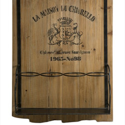 "Imax Worldwide Home - Traineur Wine Rack - Reminiscent of oak barrels used to age wine, the Traineur wine rack has antiqued logo graphics and wrought iron wine bottle holders. Holds four bottles.; Country of Origin: China; Weight: 5.8 lbs; Dimensions: 24.75""h x 19""w x 5.5""d"