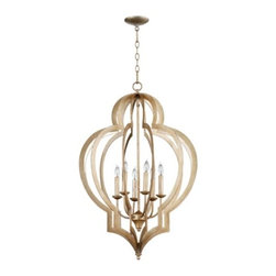 """Z Gallerie - Quatra Chandelier - Silver - 24""""W - Our elegant Quatra Chandelier is designed with a clean and graphic reference to the classic Moroccan quatrefoil design.  The fixture is hand-crafted of iron with a gold leaf finish or silver leaf finish.  Our small chandelier has four chandelier bulbs centered around a gold leaf or silver leaf rod and our large chandelier has 6 chandelier bulbs centered around a gold leaf or silver leaf rod, adding to the modern appeal. The quatrefoil silhouette is replicated throughout the design.  The 5 inch diameter ceiling cap is finished in a smooth gold leaf or silver leaf as another well-designed detail. Ten feet of hanging chain is included."""
