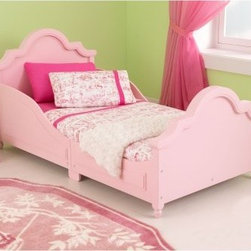 Kidkraft Raleigh Toddler Bed Pink - Help your little one transition from their crib to a big-kid bed with the Kidkraft Raleigh Toddler Bed Pink. This smart and stylish transitional bed features durable wood and MDF construction with a fun pink finish. Kids will love how grown-up they feel between the traditional headboard and footboard. Elevated side rails keep their safety first. The low-to-the-ground design allows for easy access without injury and the frame is suitable for most sizes of crib mattresses for an easy switch to open bedding.About KidKraftKidKraft is a leading creator, manufacturer, and distributor of children's furniture, toy, gift and room accessory items. KidKraft's headquarters in Dallas, Texas, serves as the nerve center for the company's design, operations and distribution networks. With the company mission emphasizing quality, design, dependability and competitive pricing, KidKraft has consistently experienced double-digit growth. It's a name parents can trust for high-quality, safe, innovative children's toys and furniture.