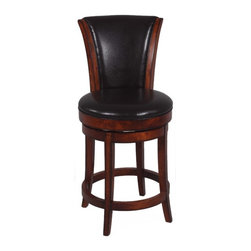 Chintaly - Chintaly Castle Hill 26 in. Swivel Counter Stool - Wenge Multicolor - 0239-CS - Shop for Stools from Hayneedle.com! The substantial Chintaly Castle Hill 26 in. Swivel Counter Stool - Wenge will make you and your guests feel like royalty. Crafted with solid birch wood and a high back upholstered with dark brown bonded leather you'll be able to feel the quality from the moment you sit down. The swivel feature and comfortable foot rest add to the appeal of this sturdy counter stool.About Chintaly ImportsBased in Farmingdale New York Chintaly Imports has been supplying the furniture industry with quality products since 1997. From its humble beginning with a small assortment of casual dining tables and chairs Chintaly Imports has grown to become a full-range supplier of curios computer desks accent pieces occasional table barstools pub sets upholstery groups and bedroom sets. This assortment of products includes many high-styled contemporary and traditionally-styled items. Chintaly Imports takes pride in the fact that many of its products offer the innovative look style and quality which are offered with other suppliers at much higher prices. Currently Chintaly Imports products appeal to a broad customer base which encompasses many single store operations along with numerous top 100 dealers. Chintaly Imports showrooms are located in High Point North Carolina and Las Vegas Nevada.