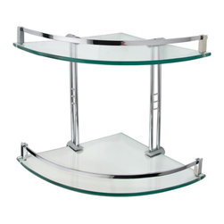 Engel Tempered Glass Corner Shelf - Two Shelves - The Engel Tempered Glass Corner Shelf features two shelves and a decorative solid brass railing that serves to help prevent toiletries from falling.