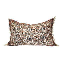 Acapillow - Block Print Floral Pillow - A fancy rug pattern made with vintage block textile and cream fringed edges make this dressed up pillow perfect for softening up your formal living room. The shell button closure on the linen back makes the cover easy to remove any time you need to dry clean.