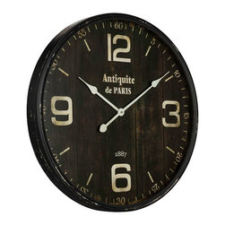 Cooper Classics - Antique de Paris Clock - Rustic French Antique de Paris Wall Clock looks like it was purchased at a Flea Market.