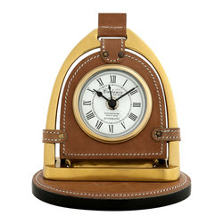 Eichholtz Oroa - Clock Cadance, Aged Brass - Aged brass finish and tanned brown leather - Equestrian shape with this stirrup of a horse used as a clock.