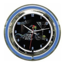"""Michael Godard Fine Art - Custom Martini Clock - Inner neon white to illumiate artwork. Exterior neon colored. Power: Ac adapter plugs into power outlet (120v) requires 1 """"aa"""" battery. Pull chain gives customer choice of blink feature or solid neon. Case in polished chrome finish resin housing. 14 in. Dia. x 3.25 in. D (5 lbs.)"""