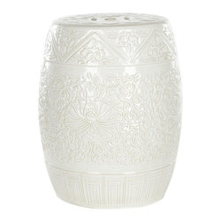 Safavieh - Mykonos Garden Stool - Swirling white lotus flowers and vines decorate the lustrous Lotus garden stool crafted of high fired ceramic and crowned with the traditional cutout prosperity coin symbol.  Use this versatile piece as a table, foot rest and even a plant stand.