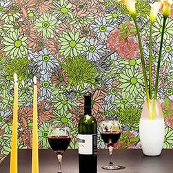 Flower Power - Flower Power Botanical Removable Wall Covering is perfect for any dining room. Photo by Rikki Snyder for Casart Coverings